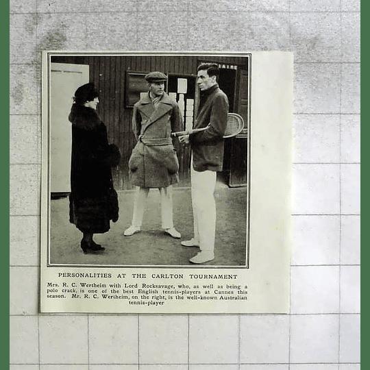 1922 Carlton Tournament, Mrs Wertheim With Lord Rocksavage