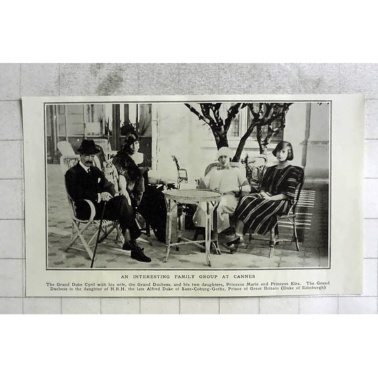 1922 Interesting Family Group At Cannes Grand Duke Cyril, Daughters