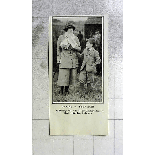 1922 Lady Baring Wife Of Sir Godfrey With Her Little Son