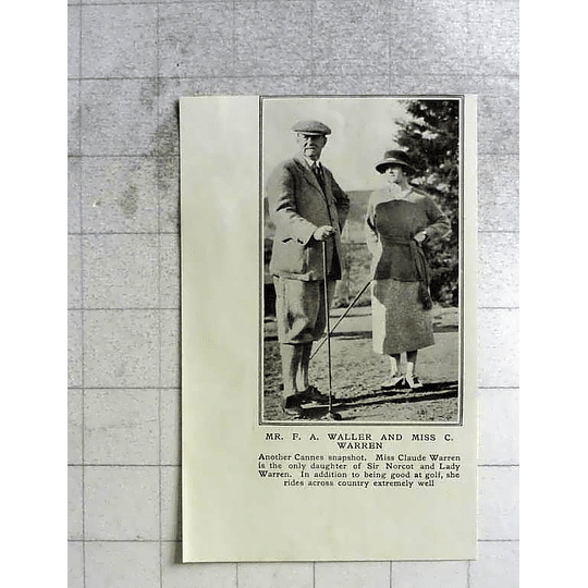 1922 Mr Fa Waller And Miss C Warren At Cannes