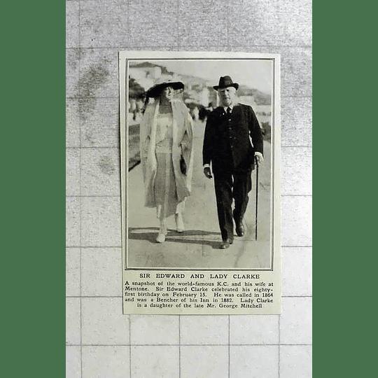 1922 Sir Edward And Lady Clarke At Mentone