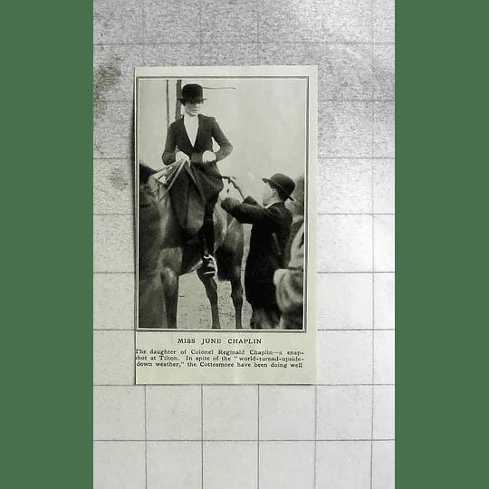 1922 Miss June Chaplin On Horse At Tilton