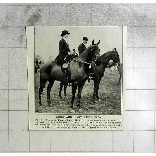 1922 Lord And Lady Petersham With The Quorn At Thorpe's Satchville