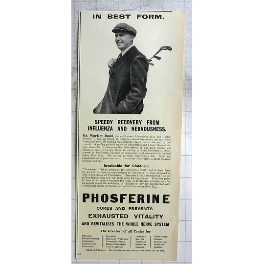 1922 Well-known Advertising Man And Golfer, Wortley Dodd In Best Form
