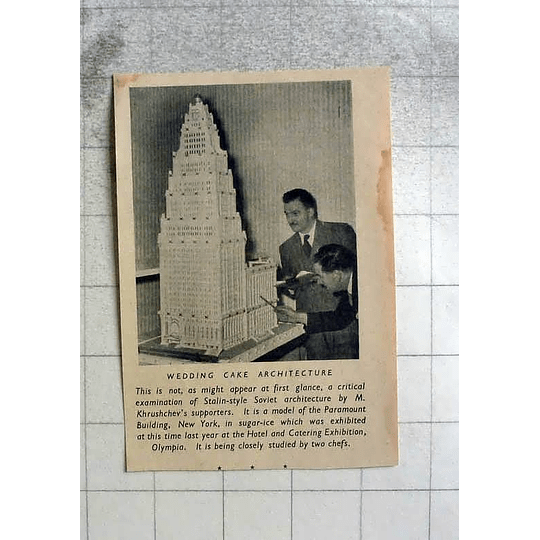 1955 Wedding Cake Architecture Of Paramount Building New York In Sugar Icing