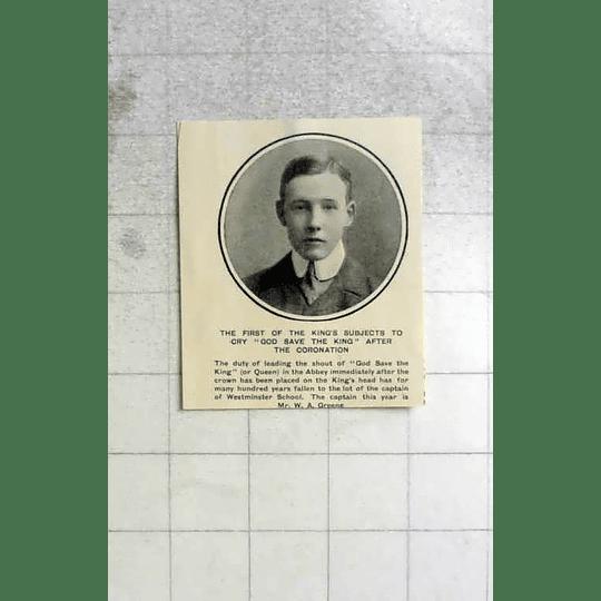1902 Captain Of Westminster School Mr W A Greene
