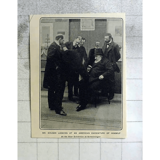 1902 Mr Kruger Looking At  Caricature Of Himself Shaving At Exhibition