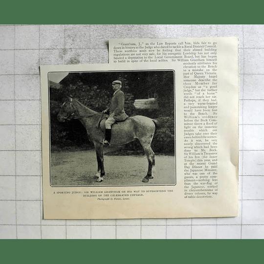 1904 Sporting Judge Sir William Grantham To Superintend Cottage Build
