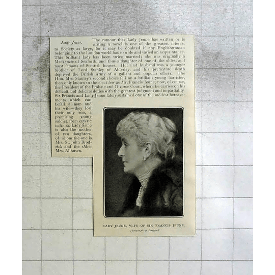1904 Lady Jeune Wife Of Sir Francis Rumoured To Be Writing Novel