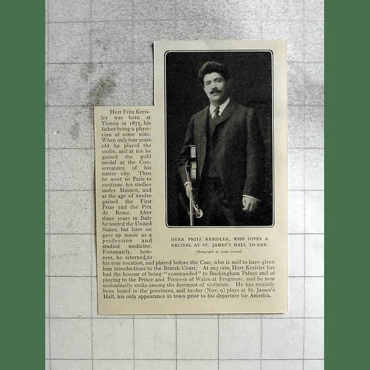 1904 Fritz Kreisler To Give Recitals St James's Hall