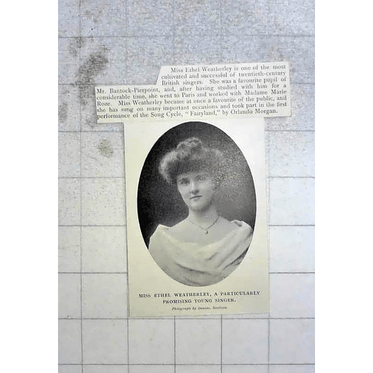 1904 Miss Ethel Weatherley Promising Young Singer Pupil Of Mr Bantock- Pierpoint