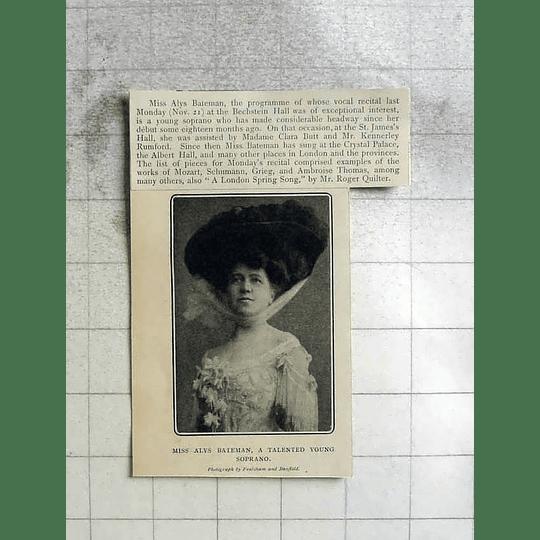 1904 Talented Soprano Miss Alys Bateman