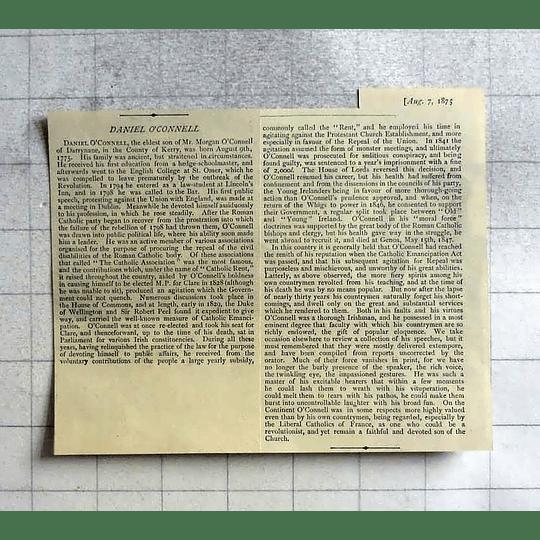 1875 Daniel O'connell, Description Of His Life
