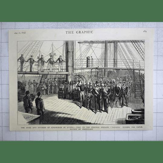 1875 Duke Duchess Of Edinburgh Visit Swedish Frigate Vanadis Cronstadt Review