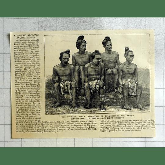 1875 Burmese Hill Robbers Who Killed Col Hamilton