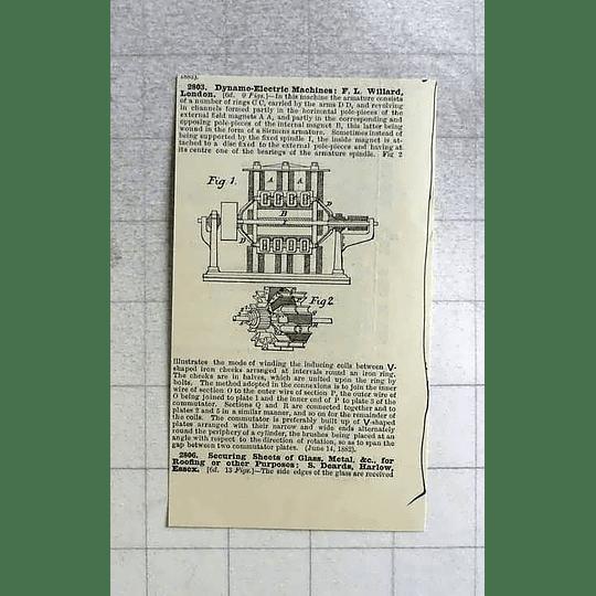 1883 Electric Dynamo, Fl Willard, Patent
