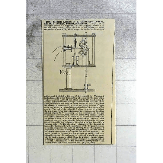 1883 Te Gatehouse Hr Kempe Barnet, Lamp Patent