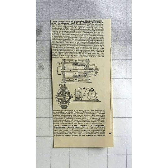 1883 Blyth's And Peebles, Measuring Electric Current, Patent