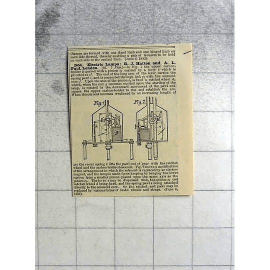 1883 Hatton And Paul, London, Electric Lamp Patent