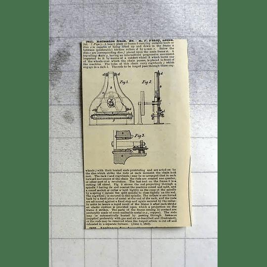 1883 Horseshoe Nails, Fenby, Leeds, Patent