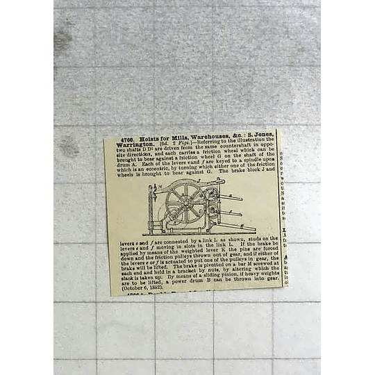 1883 Hoists For Mills And Warehouses, Jones, Warrington, Patent
