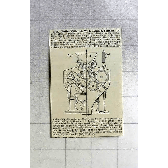 1883 Roller Mills, A W Reddie London, Patent