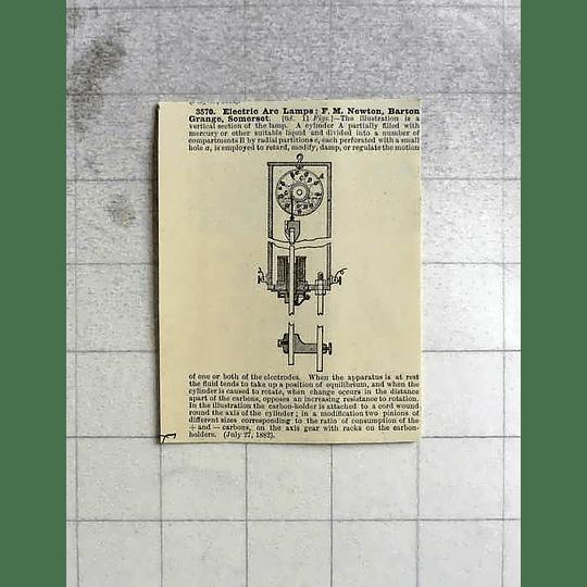 1883 Electric Arc Lamp, Fm Newton, Barton Grange, Somerset, Patent