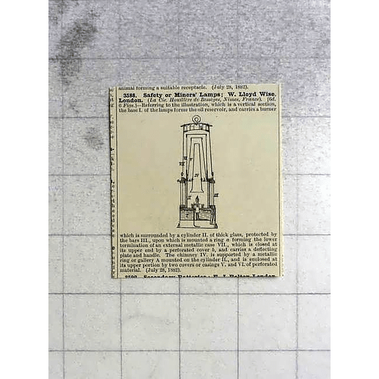 1883 Safety Miner's Lamp, W Lloyd Wise, Patent