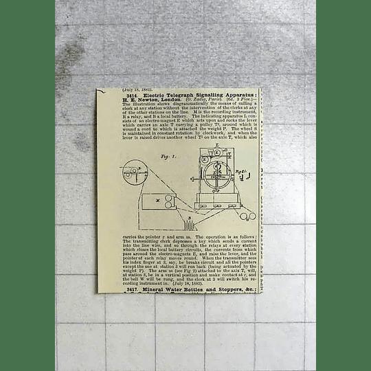 1883 Electric Telegraph Signalling Apparatus H E Newton London, Patents