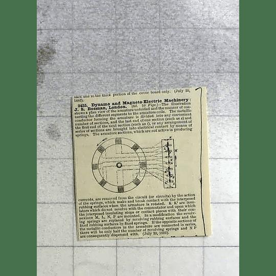 1883 Dynamo Machinery, Js Beeman, London, Patent