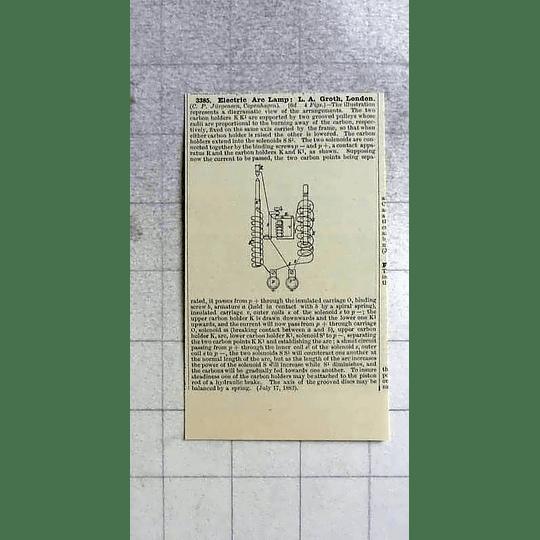 1883 Electric Arc Lamp, La Groth, London, Patents