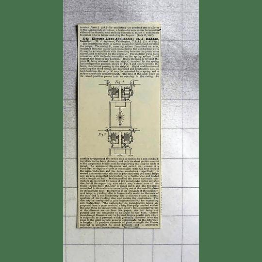 1883 Hj Haddan, London Electric Light Appliance, Patent