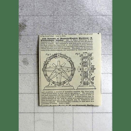 1883 Werdermann In London, Magneto Electric Machine, Patent