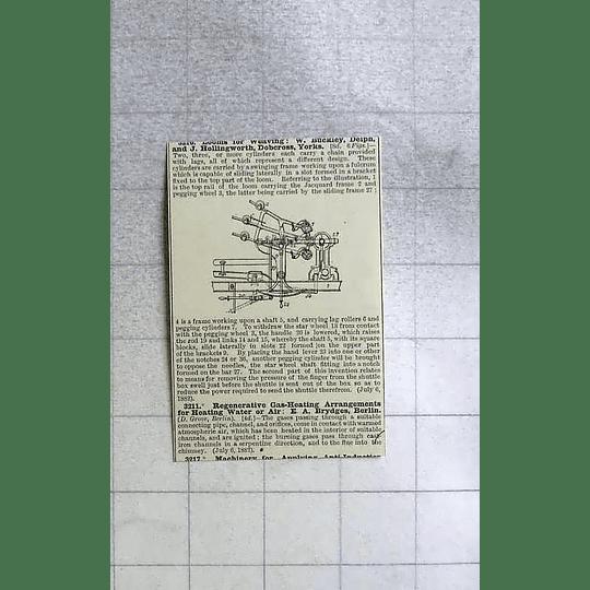 1883 Looms For Weaving, W Buckley, Delph, Hollingworth Dobcross, Patent