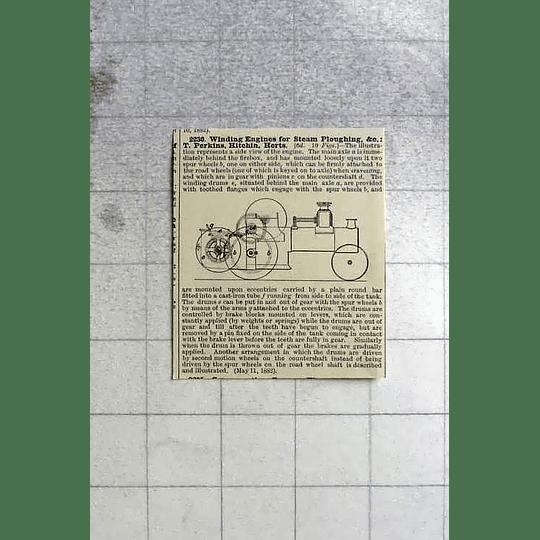 1883 T Perkins, Hitchen Hertfordshire Winding Engine Patents