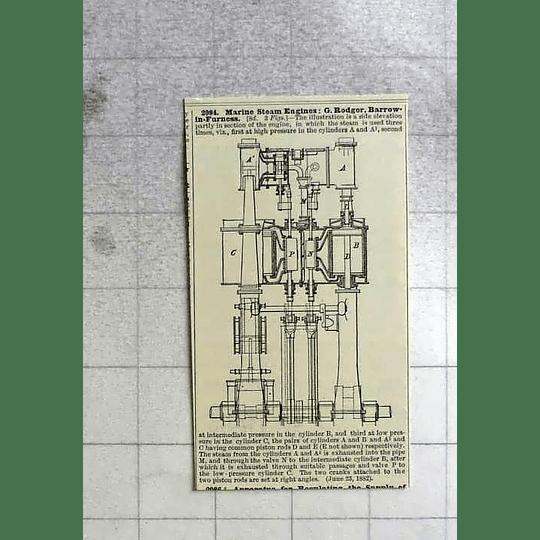 1883 G Rodger, Barrow In Furness, Marine Steam Engine, Patent