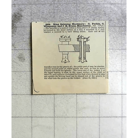1883 G Perkin, Wimpenny, Ring Spinning Machinery Manchester Patent