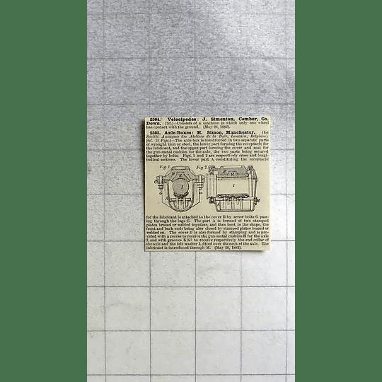 1883 Axle Boxes, H Simon, Manchester, Patent
