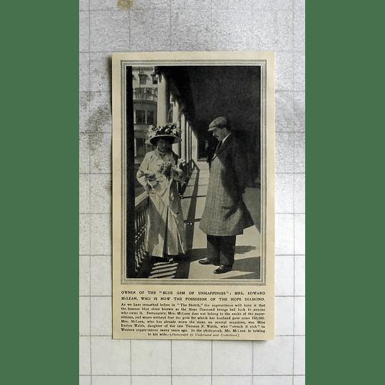 1911 Mrs Edward Mclean Now Possessor Of The Hope Diamond