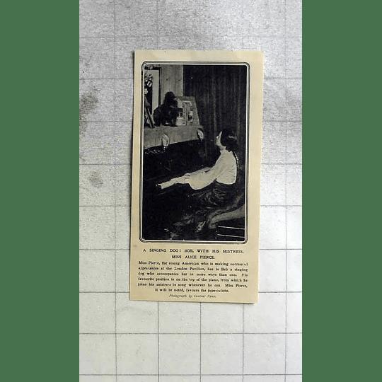 1911 Miss Alice Pierce With Her Singing Dog Bob