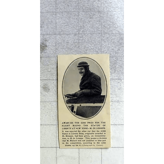 1911 De Lesseps Awarded £2000 Prize Flying Round Statue Of Liberty