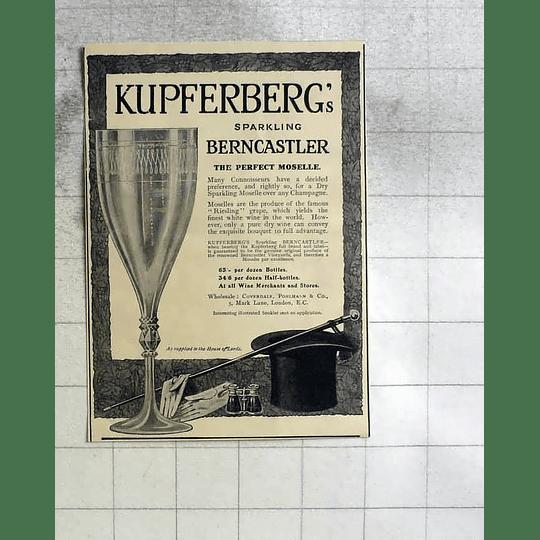 1911 Kupferbergs Sparkling Berncastler Perfect Moselle Coverdale Pohlmann