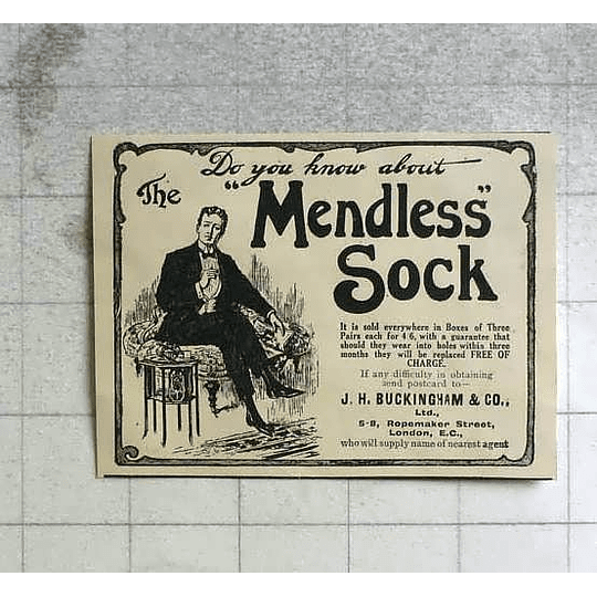 1911 Jh Buckingham And Co-rope Makers Street The Mendless Sock