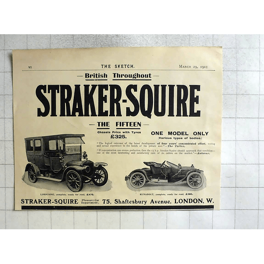 1911 Straker Squire The 15, Limousine, Runabout, £325