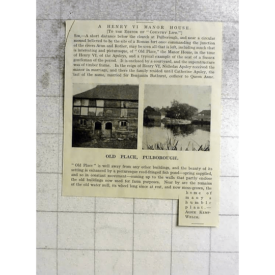 1918 Henry Vi Manor House Old Place Pulborough