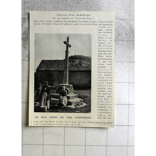1918 Old Cross In The Village Of Condicote Stow On The Wold