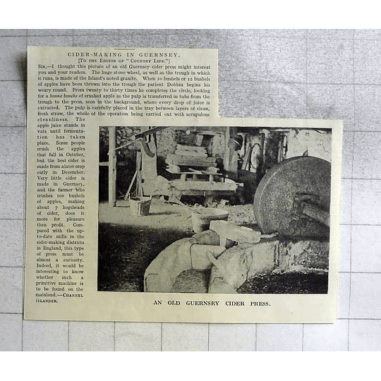 1918 An Old Guernsey Cider Press