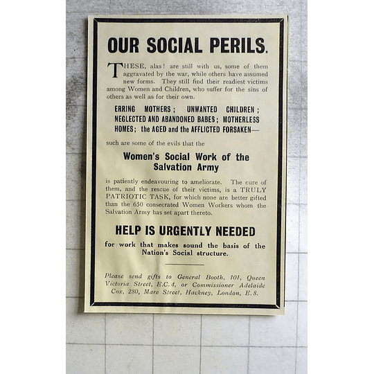 1918 Help Needed To Combat Our Social Perils, Patriotic Task Salvation Army