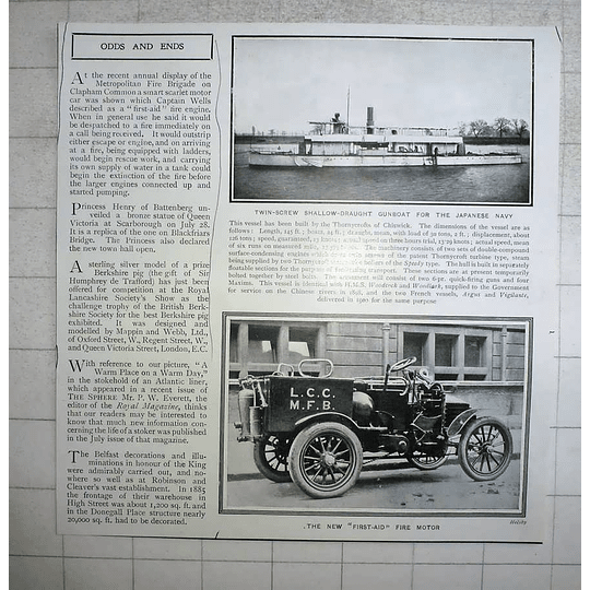 1903 First-aid Fire Engine, Clapham Common, Gunboat For Japan Navy
