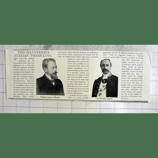 1903 Two Illustrious Italian Physicians Mazzoni And Lapponi